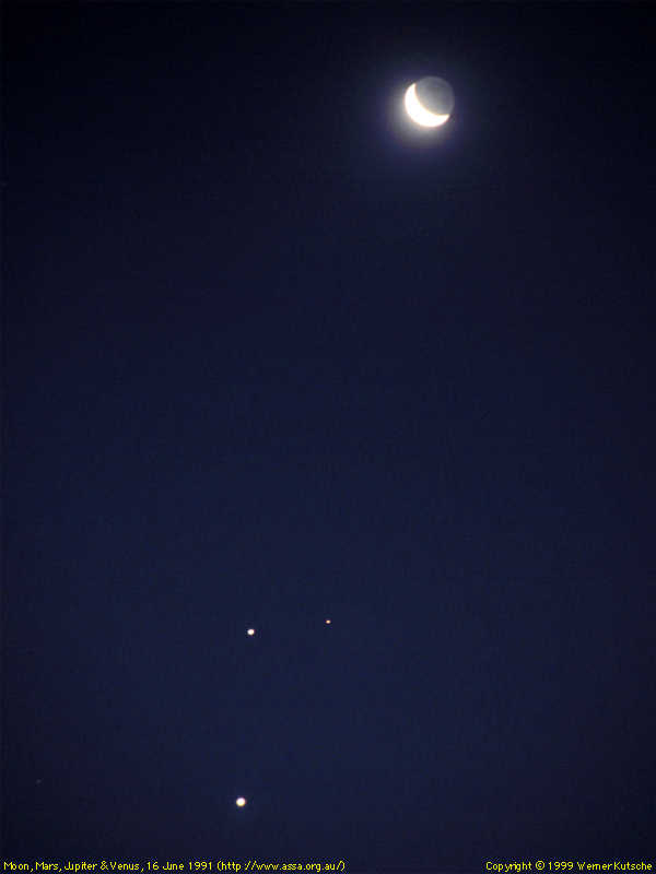 The Moon, Mars, Jupiter & Venus - 16 June 1991